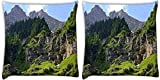 Snoogg Trees On The Mountain Top Pack Of 2 Digitally Printed Cushion Cover Pillows 14 X 14 Inch