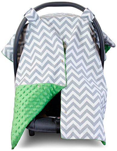 Premium Carseat Canopy Cover / Nursing Cover- Large Chevron Pattern w/ Green Minky | Best Infant Car Seat Canopy, Boy or Girl | Cool/ Warm Weather Car Seat Cover | Baby Shower Gift 4 Breastfeeding Mom (Green Infant Car Seat Covers compare prices)