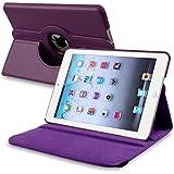 eForCity 360-Degree Swivel Leather Case for Apple iPad mini, Purple (PAPPIPDMLC21)