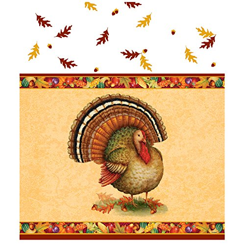 "Festive Turkey Thanksgiving Plastic Tablecloth, 84 x 54"" - 1"