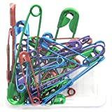 Metallic-coated Safety Pins, Assorted Colors and Sizes, 40-count, Red, Blue, Purple, Green,