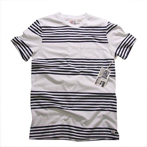 (エムニーイ) M.Nii ビンテージ ボーダー ポケット Tシャツ Tee 半袖 ネイビー ホワイト [並行輸入品]