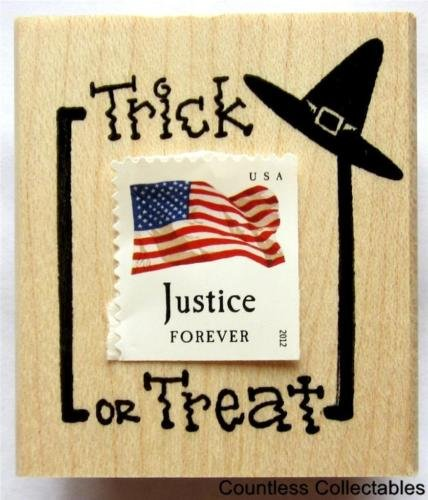 [Trick Or Treat Witch Witches Hat Postal Postage Frame Halloween Rubber Stamp] (United States Postal Service Costume)