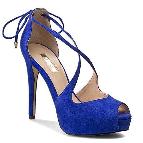 Guess Sandalo Donna Huete Sandal Spuntata Suede Tacco 12 PL 3 Blue-37