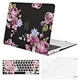 Mosiso Plastic Pattern Hard Case with Keyboard Cover with Screen Protector for MacBook Air 13 Inch (Model: A1369 and A1466), Peony