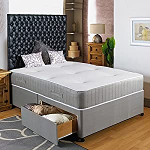 Hf4you 3ft6 large single divan bed 2 drawers same side for Single divan with drawers and headboard