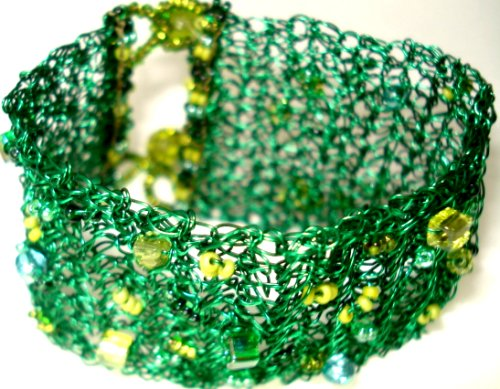 Crochet Beaded Peridot Green Glass Seed Bead Cuff Bracelet