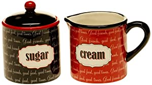 Certified International Eat at Mom's Sugar and Creamer Set by Certified International
