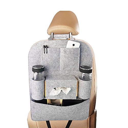 Yoosion Car Back Seat Organizer Felt 6-Pocket iPad Storage Bag Multifunctional Automobile Backseat Travel Space Saving Organization Pouch for Kids Toys, Pen, Tissue Box (Car Organizer Gray compare prices)