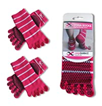 Yoga Full Toe Socks (Pink with White Stripes) - 2 Pairs Value Pack Set - Size S/M - Socks For Yoga, Pilates, Barre, Hospital Use