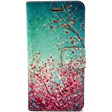 Uming Retro Colorful Pattern Print Leather case for Apple Iphone 5C IPhone5C PU Flip Leather Holster with Stand Stander Holder Hand Free Credit Card Slot Wallet Hasp Magnet Magnetic Button Buckle Shell Protective Mobile Cell Phone Case Cover Bag - Sky Spring Flower