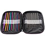 LIHAO 22pcs Mixed Aluminum Handle Crochet Hooks Knitting Knit Needles Weave Yarn Set