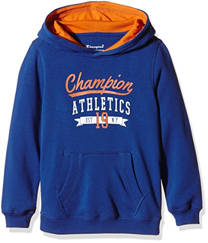 Champion Felpa Ragazzo felpa con cappuccio con cappuccio, Ragazzo, Kapuzensweat Hooded Sweatshirt, Cobalt Blue/Celosia Orange, M