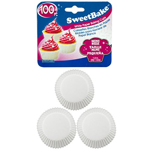 SweetBake Mini White Paper Baking Cups - Pack of 72