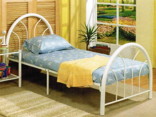 Cheap Twin Size Bed Frame In White Metal Finish Black