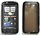 HTC SENSATION G14 BLACK Silicone Skin Case Cover with FREE LCD SCREEN SHIELD and lint cloth