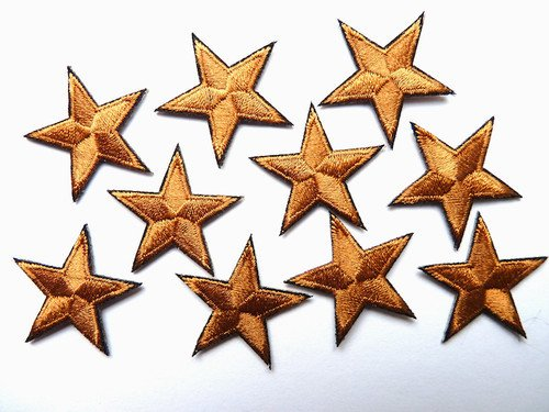 -pack-of-10-bronze-brown-iron-on-or-sew-on-star-patches-applique-
