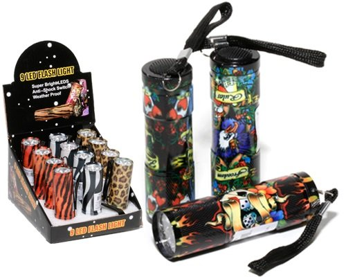 Flashlight With Tattoo Print Has 9 Leds Is 3.5 Inch Assorted Styles