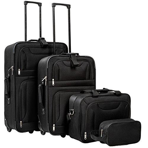 TecTake Set di 4 valigie tessuto trolley da viaggio semirigido bagaglio a mano borsa con ruote nero