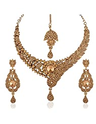 I Jewels Traditional Gold Plated Elegantly Handcrafted Stone Jewellery Set With Maang Tikka For Women M4036FL...