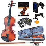Mendini Size 1/2 MV300 Solid Wood Violin with Tuner, Lesson Book, Shoulder Rest, Extra Strings, Bow and Case, Satin Antique Finish