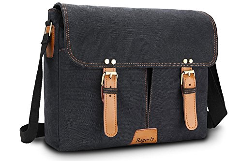 Bagerly Canvas Flap-Over Business Laptop Messenger Bag Briefcase Fits 14 inch Laptop