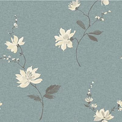 Teal / Cream - Japanese Orchid - Floral - Ideco - Wallpaper