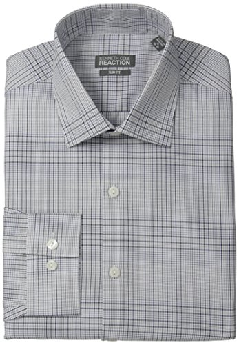Kenneth Cole Reaction Men's Slim Fit White Graphic Check, Blue, 15.5 34/35