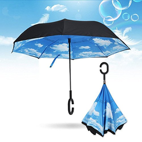 Double Layer Inverted Umbrella, silkclo Windproof Protection Cars Reverse Umbrella and Self Standing with C-shaped Handle Travel Umbrella with Carrying Bag (Electric Umbrella compare prices)