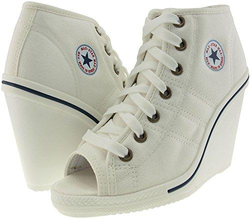 005c4d9b8430 Maxstar 777 Toe Open Side Zipper Canvas Wedge Heels Shoes White 7 5 B M US  Womens