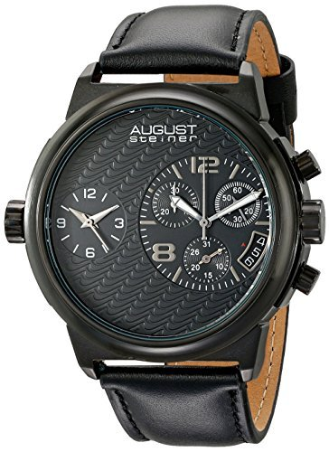 August Steiner Men's AS8151BK Black Dual Time Zone Swiss Chronograph Quartz Watch with Black Dial and Black Leather Strap by August Steiner