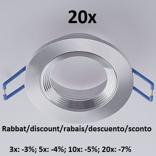 20x Deckeneinbauring Einbaurahmen Einbauring Downlight aus Aluminium für GU10 MR16 GU5,3 G4 LED Spot, LED Highpower Spot, normale Halogen