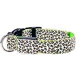 Amazon.co.jpClick Click ペット犬猫首輪 ヒョウ柄 LED点滅ライト  - ドッグ ナイト安全 視認性を向上させる - 緑 S