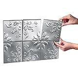 Tin Kitchen Backsplash Tiles - Set of 14, Silver