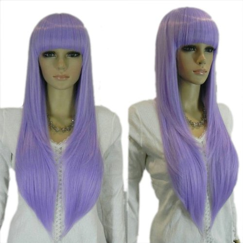 Qiyun Women's Long Straight Full Bangs Loli Lolita Costume Full Hair Wig