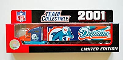 Fleer 2001 LIMITED EDITION NFL Team Collectible 1:80 Scale Diecast Kenworth Tractor Trailer MIAMI DOLPHINS
