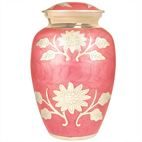 Funeral Urn by Meilinxu - Cremation Urns for Human Ashes Adult and Memorial Urns - Hand Made in Brass & Hand-Engraved - Burial Urns At Home or in Niche at Columbarium (Bram Rose Pink, Large Urn) (Medium Size Urns For Human Ashes compare prices)