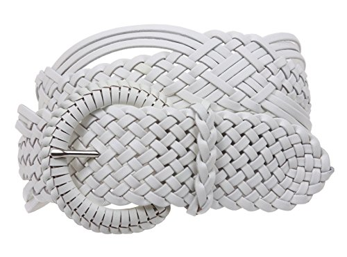 "2"" (50 mm) Genuine Leather Braided Woven Belt Color: White Size: L/XL - 45 END-TO-END"