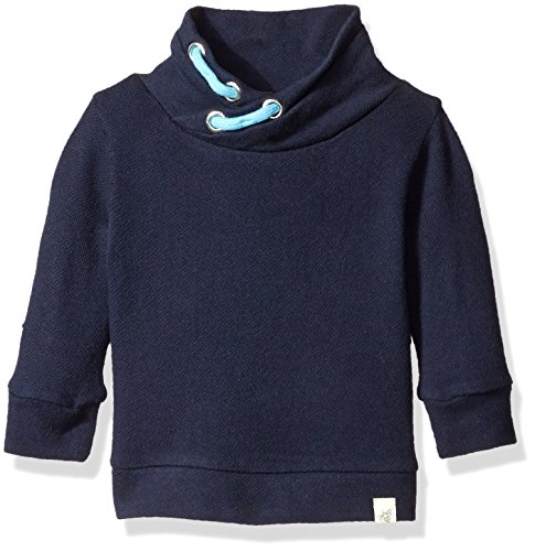 Burt's Bees Baby Boys' Organic Loose Pique Applique Sweatshirt, Midnight, 12 Months
