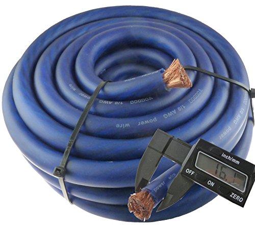 Voodoo 25 ft 1/0 Gauge True Spec AWG 25' Blue Power Wire (0 Gauge Copper Wire compare prices)