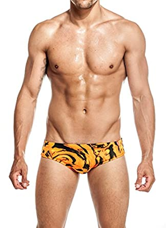 Mens New Hot Print Body Bikini Swimsuit by Gary Majdell Sport Fan Orange Small