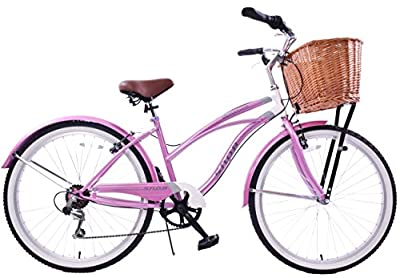 "New Classic Ladies Comfort Beach Style Cruiser Bike & Wicker Basket 19"" Frame"