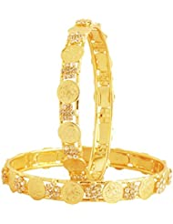 The Jewelbox Lakshmi Coin Ginni American Diamond Gold Plated Bangle Set Of 2 (Pair) For Women