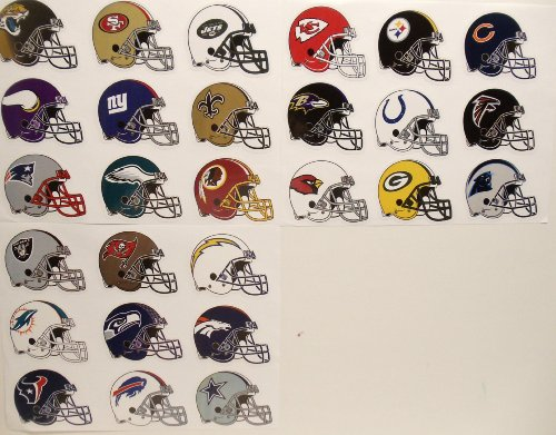 NFL FOOTBALL TEAM HELMET STICKERS - NFL Football Team Helmet Birthday Party Favor Sticker Set Consisting of 27 Team Stickers Featuring Green Bay Packers, Miami Dolphins, Denver Broncos, Tampa Bay Buccaneers, Buffalo Bills, Chicago Bears, Seattle Seahawks, Atlanta Falcons, Minnesota Vikings, Carolina Panthers, Jacksonville Jaguars, Philadelphia Eagles, Baltimore Ravens, New York Jets, New England P at Amazon.com