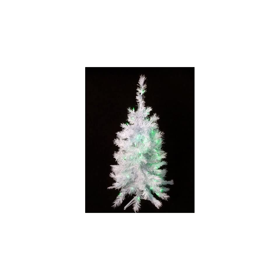 3 Pre Lit White Artificial Christmas Tree   Green Lights