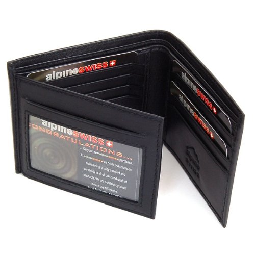Men's Leather Wallet Hybrid Classic Bifold Trifold by Alpine Swiss. Made of Luxurious Lambskin Leather Soft and Dressy