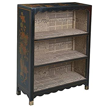 "EXP Handmade Oriental Furniture 46 "" Antique Style Mandarin Bookshelves, Black"