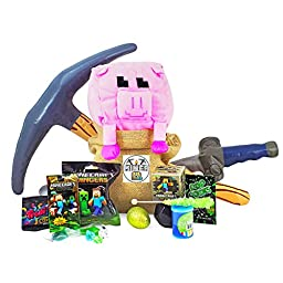 Minecraft Themed Candy and Toy Gift Basket with Plush