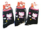 Sanrio Hello Kitty Girls Black Socks (3pairs) - Hello Kitty 3pc Black Socks