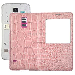 Crocodile Texture Flip Leather Case + Plastic Replacement Back Cover with Call Display ID for Samsung Galaxy S5 / G900 (Pink)